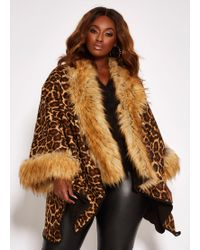 d609f0abefc Ashley Stewart - Plus Size Leopard Ruana With Faux Fur Trim - Lyst