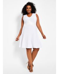 b93e28fb66 Ashley Stewart - Plus Size A Line Dress With Faux Leather - Lyst
