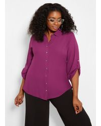 45cd7080b1e Lyst - Ashley Stewart Plus Size Hi Lo Button Front Peplum Shirt in White