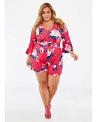 9902b4ac5889 Ashley Stewart - Plus Size Floral Bell Sleeve Belted Romper - Lyst