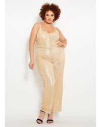 797b844e1832 Ashley Stewart - Plus Size Gold Metallic Sequin Jumpsuit - Lyst
