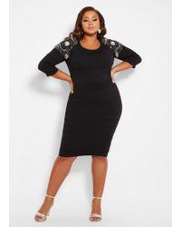 fae422c2eabca Ashley Stewart - Plus Size Bead Detail Ribbed Sweater Dress - Lyst