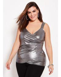 f372d87513767 Charlotte Russe · Ashley Stewart - Plus Size Sleeveless Metallic Wrap Top -  Lyst