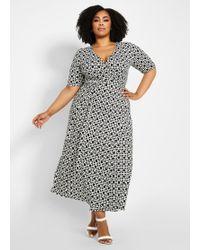 5735bc3bd14 Ashley Stewart - Plus Size Printed Elbow Sleeve Wrap Dress - Lyst