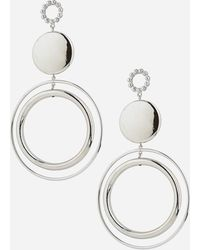 Ashley Stewart Plus Size Oversize Double Disc Drop Earrings - Metallic