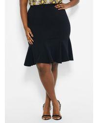 ab087458c Elie Tahari Oakley Pinstripe Godet Pleat Skirt in Black - Lyst