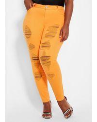 71001d925811c Ashley Stewart - Plus Size Destructed Colored Skinny Jean - Lyst