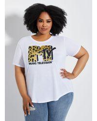 0f586b91 Ashley Stewart - Plus Size Mtv Metallic Leopard Logo Tee - Lyst