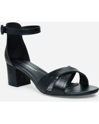 8fa364186b6 Lyst - Ashley Stewart Plus Size Criss Cross Block Heel Sandal in Black
