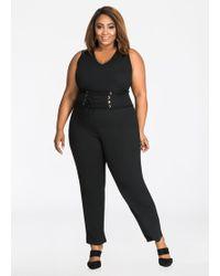 Lyst Ashley Stewart Plus Size Belted Lattice Sleeve Jumpsuit In Black
