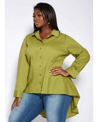 34c09873494 Lyst - Ashley Stewart Plus Size Voile Shirt With Roll Tab Sleeve in ...