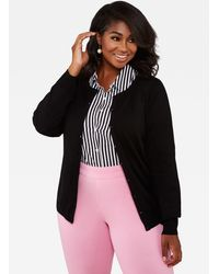 Ashley Stewart - Plus Size Button Front Knit Cardigan Sweater - Lyst