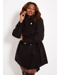 4c46208e6f0 Ashley Stewart - Plus Size Standing Collar Single Breasted Coat - Lyst