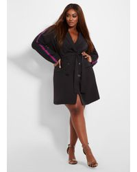 d8e0ad5bb5c Lyst - Ashley Stewart Plus Size Plaid Ruana With Faux Fur Trim in Black