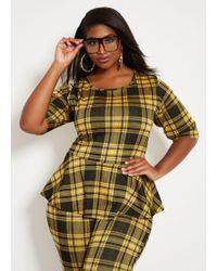 4159166087617a Ashley Stewart - Plus Size Gold Menswear Plaid Peplum Top - Lyst