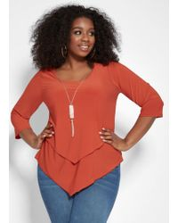 Ashley Stewart - Plus Size Double Layered Necklace Top - Lyst