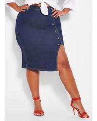 501c1b0540b4c Ashley Stewart - Plus Size Tortoise Multi Button Denim Skirt - Lyst