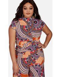 Ashley Stewart - Plus Size Moroccan Print Twist Front Top - Lyst