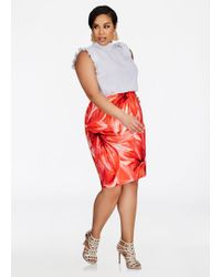 8dc5e1e165a Ashley Stewart - Plus Size Floral Pull On Pencil Skirt - Lyst