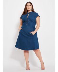 1242d55fbaa Lyst - Ashley Stewart Plus Size Striped Linen Button Front Dress