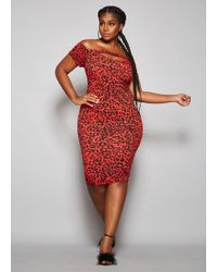 dab5d6df454ab Lyst - Ashley Stewart Plus Size Lace Flounce Hem Dress in Red