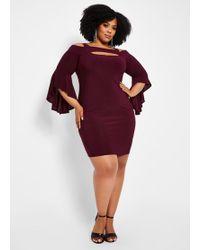 610abff914ef0 Ashley Stewart - Plus Size Solid Cutout Bell Sleeve Dress - Lyst