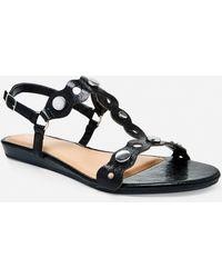 da50351c502 Lyst - Ashley Stewart Colorblock Gladiator Sandal - Wide Width in Black