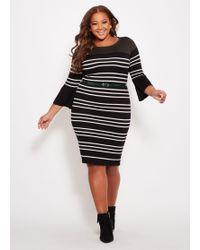 834b45be8fc Ashley Stewart - Plus Size Striped Belted Sweater Dress - Lyst