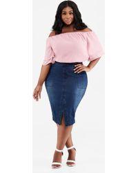 f6f7854c59a00 Ashley Stewart - Plus Size Front Slit Denim Midi Skirt - Lyst