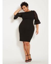 2733213fc7b Ashley Stewart - Plus Size Lace Bell Sleeve Sheath Dress - Lyst