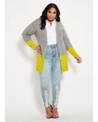 62a6fbeb0c Ashley Stewart - Plus Size Color Block Button Front Cardigan - Lyst