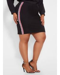 ce3ea4ddc02e8 Lyst - Ashley Stewart Plus Size Studded Faux Leather Skirt in Black