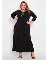 8a8c0bb1121 Lyst - Ashley Stewart Plus Size Sleeveless Tulip Hem Maxi Dress in Black