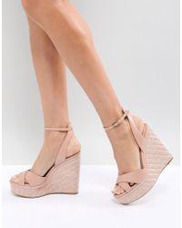 ALDO - Cross Strap Wedge Shoe With Textured Heel - Lyst