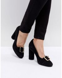 SELECTED - Femme Suede Round Toe Court Shoe With Buckle - Lyst