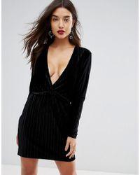 Ivyrevel - Deep V Pleated Velvet Mini Dress - Lyst