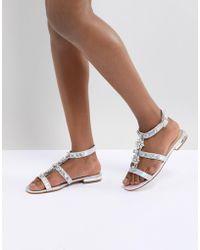 Public Desire - Strobe Silver Strap Embellished Sandals - Lyst