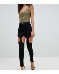 ASOS - Asos Design Tall Rivington High Waisted Jeggings With Suspender Detail In Clean Black - Lyst