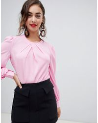 Warehouse - Pleat Neck Long Sleeve Top In Pink - Lyst