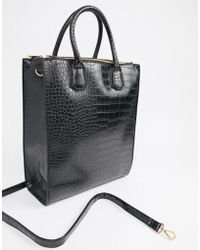 ASOS DESIGN - Double Zip Compartment Tote Croc With Laptop Compartment - Lyst