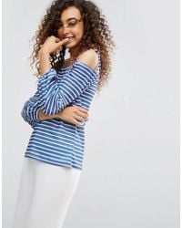 ASOS - Asos Top In Stripe With Off Shoulder And Pretty Bell Sleeve - Lyst