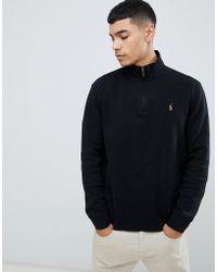daaa7ad9b47 Polo Ralph Lauren - Pull en tricot de coton demi-fermeture clair avec logo  joueur