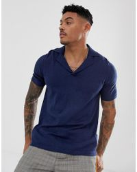 ASOS - Knitted Revere Polo T-shirt In Navy - Lyst
