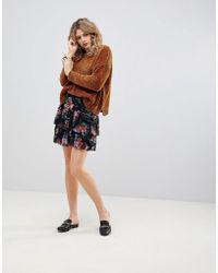 Ichi - Floral Tiered Skirt - Lyst