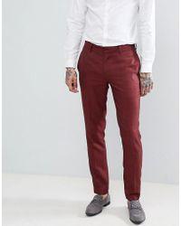 ASOS - Design Wedding Skinny Suit Trousers In Wine Micro Texture - Lyst