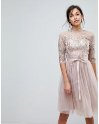 Chi Chi London - High Neck Tulle Midi Dress With Cut Out Back Detail - Lyst