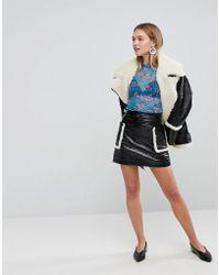 Monki - Shearling Pocket Faux Leather Skirt - Lyst