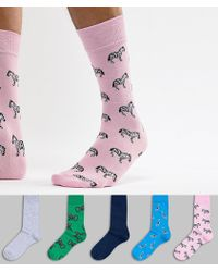 River Island - Socks With Animal Prints In Multi Colours 5 Pack - Lyst