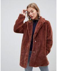 New Look - Faux Fur Coat In Brown - Lyst