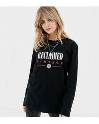 Reclaimed (vintage) - Inspired Long Sleeve Logo T-shirt In Black - Lyst